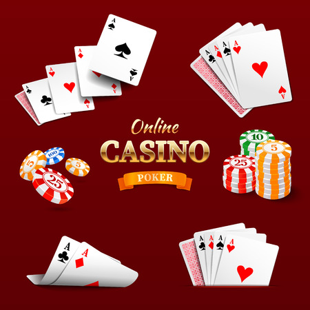 Casino design elements poker chips, playing cards and craps. Poker emblem Illustration
