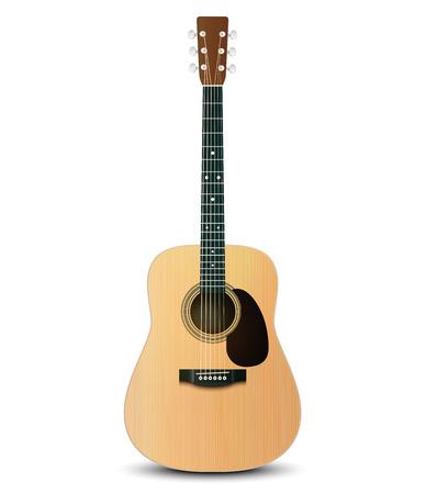 guitarra: Ilustración del vector de la guitarra acústica realista Vectores