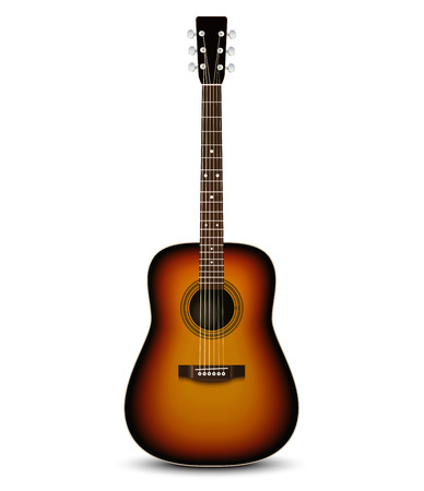 acoustic: Realistic acoustic guitar. Vector illustration