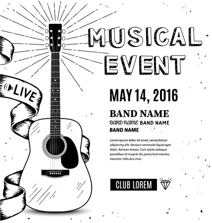 events: Guitar music poster. Hand drawn sketch vector illustration