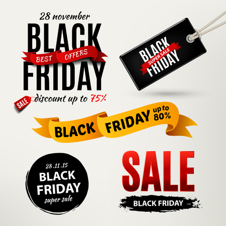 black grunge background: Black friday sale design elements. Black friday sale inscription labels, stickers. Vector illustration