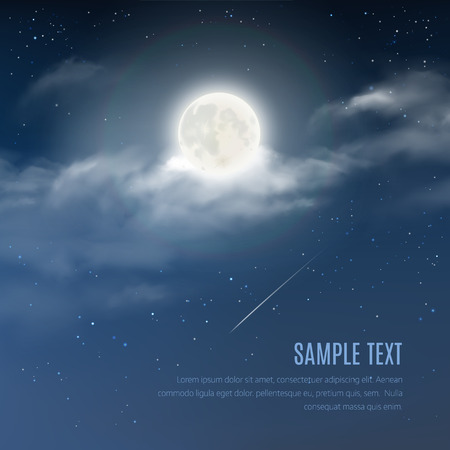 full: Night cloudy sky with the shining stars and moon. Vector illustration of night sky