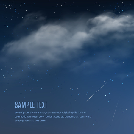 fog: Night background, clouds and shining stars on dark blue sky. Vector illustration of night sky