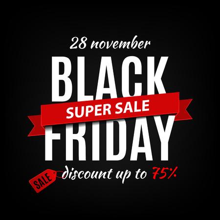 ruban noir: Black Friday modèle de conception vente d'inscription. Noir bannière vendredi. Vector illustration