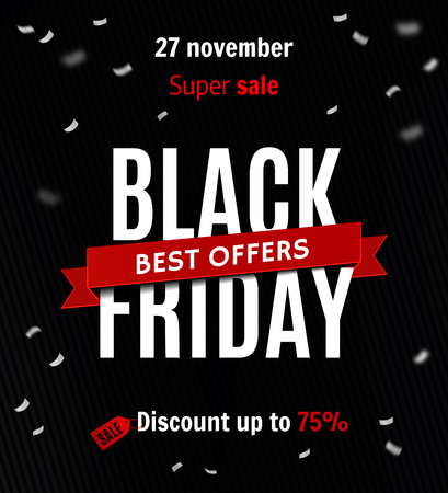 Black friday sale design template. Sale inscription on confetti background. Sale banner. Vector illustration  イラスト・ベクター素材