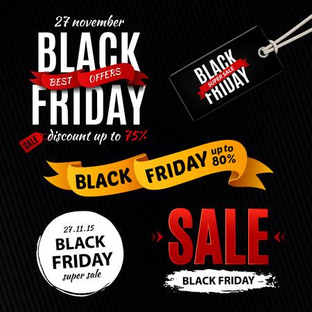 retail sales: Black friday sale design elements, inscription, labels, stickers. Vector set