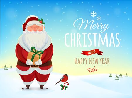 santa sack: Christmas greeting card, poster. Funny Santa. Winter landscape. Vector illustration. Merry Christmas and Happy new year
