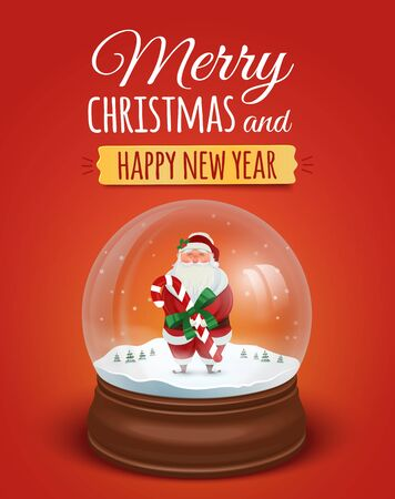 christmas snowflakes: Christmas greeting card, poster with Santa Claus in the snow globe. Vector illustration. Merry christmas and Happy new year lettering text Illustration