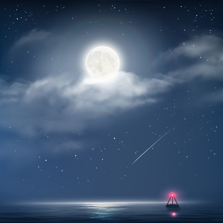horizon over water: Vector illustration of night cloudy sky with stars, moon and sea with beacon