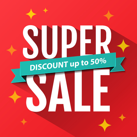 sales: Super Sale inscription, design template. Super Sale banner. Sale poster. Super Sale discount up to 50%.