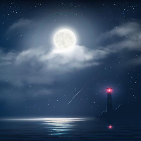 Vector illustratie van de nacht bewolkte hemel met sterren, de maan en de zee met vuurtoren Stockfoto - 49829886