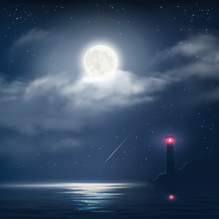 Vector illustration of night cloudy sky with stars, moon and sea with lighthouse Ilustração