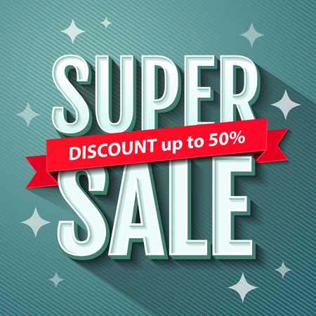 Super Sale inscription, banner design template. Super Sale, discount up to 50%. Vector illustration