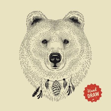Vector schets van het gezicht van een beer. Bear hoofd, vooraanzicht. Hand getrokken illustratie Stock Illustratie