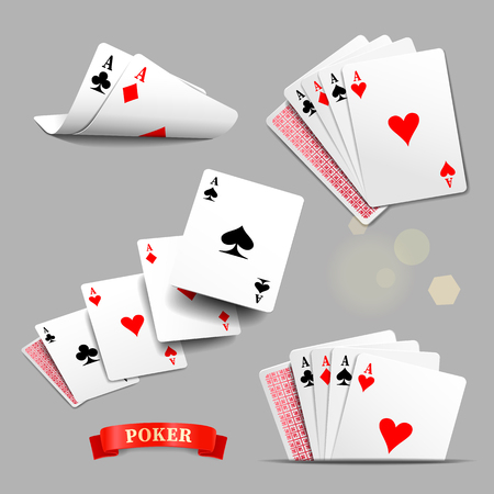 aces: Playing cards. Vector set