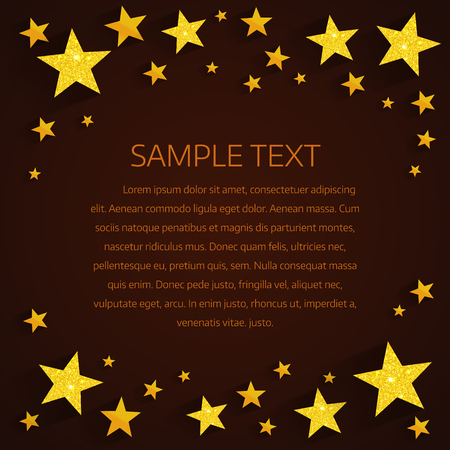 star pattern: Golden stars background. Golden stars with a long shadow on a dark background with place for text Illustration