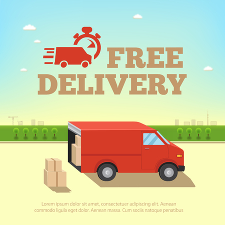 icon red: Illustration of delivery service concept. Truck van for fast shipping against the background of the cityscape