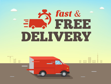 Illustration of  fast shipping concept. Truck van of delivery rides at high speed