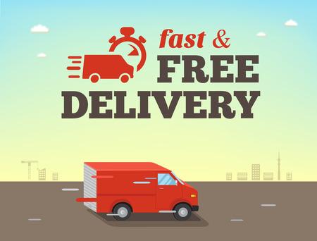 Ilustracja szybka wysyłka koncepcji. Ciężarówka van dostawy jedzie z dużą prędkością Ilustracje wektorowe