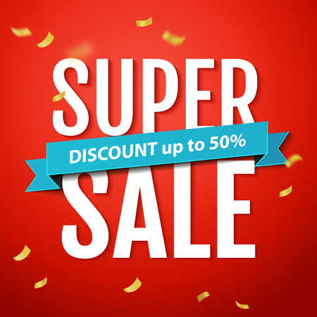 red banner: Super Sale inscription, on the red background with confetti. Super Sale banner, poster.  Illustration