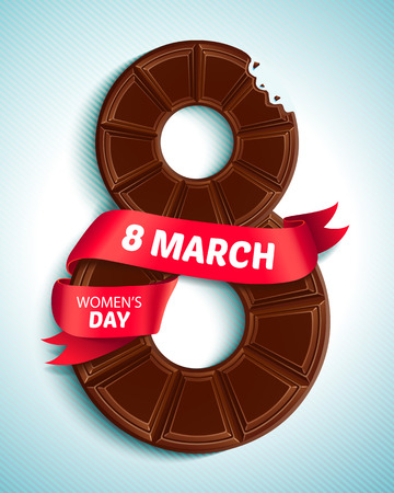 mar: 8 March, Womens Day. Greeting card with chocolate and red ribbon