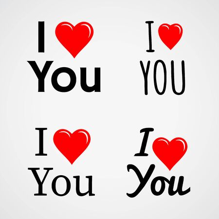 heart sign: I love you, with red heart sign. Vector set Illustration