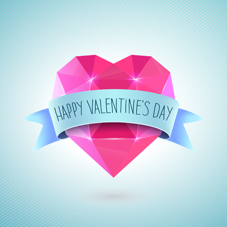 diamond background: Valentines Day Greeting Card. Diamond heart shape with ribbon