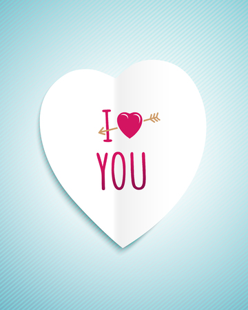 i love you sign: Valentines day greeting card with the white paper heart and sign i love you
