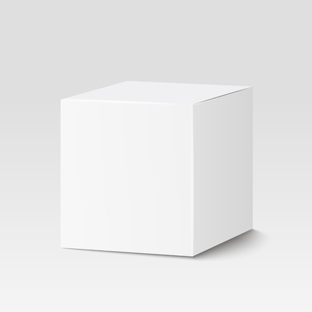 to white: White square box, container  packaging. Illustration