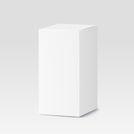 product packaging: Cardboard box on white background. White container, packaging. Vector illustration