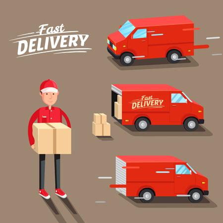 medios de transporte: Concepto de entrega. furgoneta de reparto rápido. Repartidor.