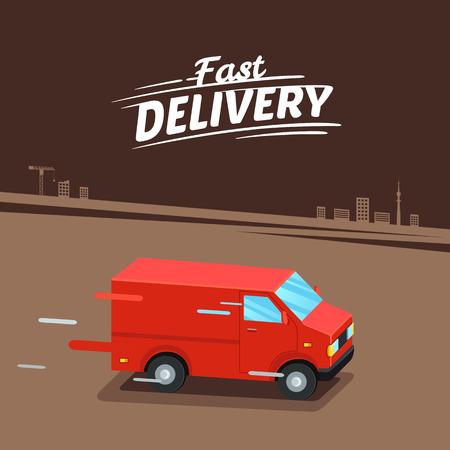 Concepto De Entrega. Furgoneta de entrega rápida. Signo de entrega rápida.