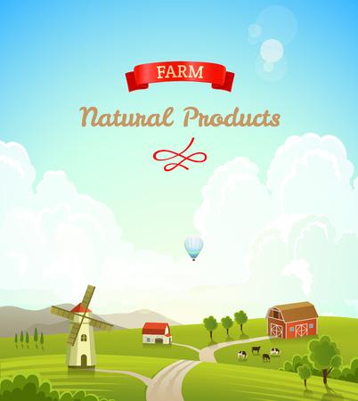 Boerderij landschap. Farm achtergrond.