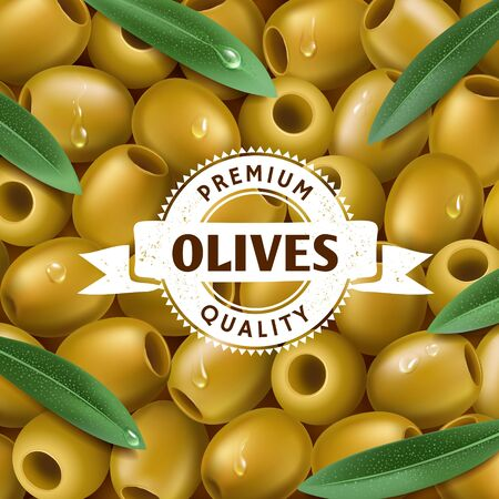 olive: Realistic Green olives background, with a leafs. Olive label. Olive icon.