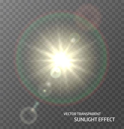 Sol, luz del sol con los rayos y las luces del foco de la lente. Efecto de luz de resplandor.