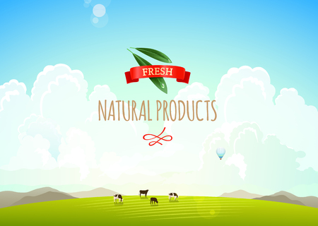 green hills: Nature landscape illustration with mountains, hills and clouds. Cows on a green meadow. Concept of fresh, natural products Illustration