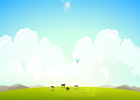 green meadow: Landscape illustration with mountains, hills and clouds, cows on a green meadow.