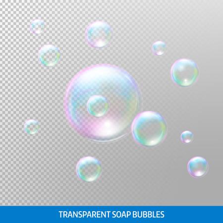 Transparent soap bubbles. Realistic soap bubbles. Rainbow reflection soap bubbles.
