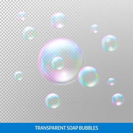 Transparente Seifenblasen. Realistische Seifenblasen. Regenbogen Reflexion Seifenblasen.