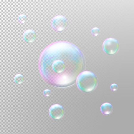 Bolle di sapone. bolle di sapone trasparente. bolle di sapone realistiche. Rainbow bolle di sapone riflessione. illustrazione isolato Vettoriali