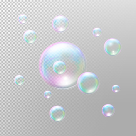 Soap bubbles. Transparent soap bubbles. Realistic soap bubbles. Rainbow reflection soap bubbles. Isolated illustration