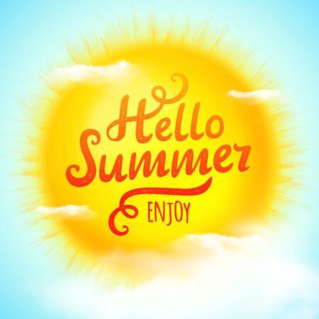 Hello summer, typographic inscription on 3D realistic sun. Illustration