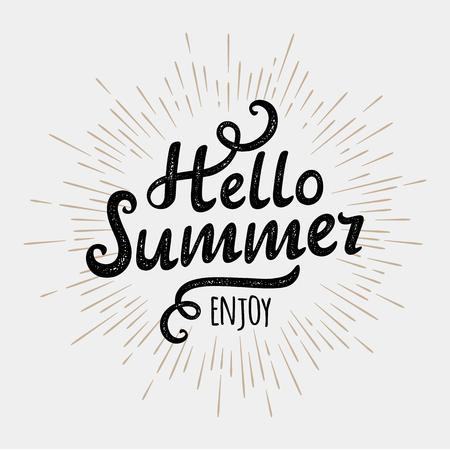 say hello: Hello summer, typographic inscription on vintage monochrome sun background. illustration Illustration