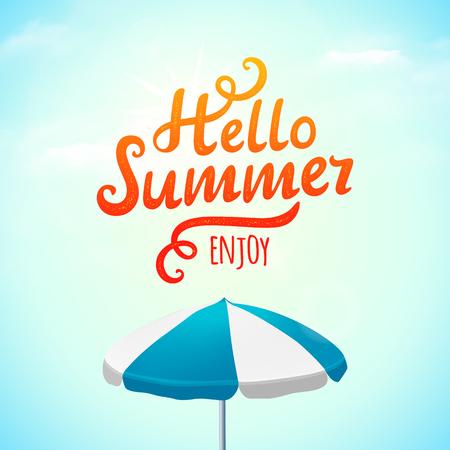 parasol: Hello summer, typography inscription with parasol. Illustration Illustration