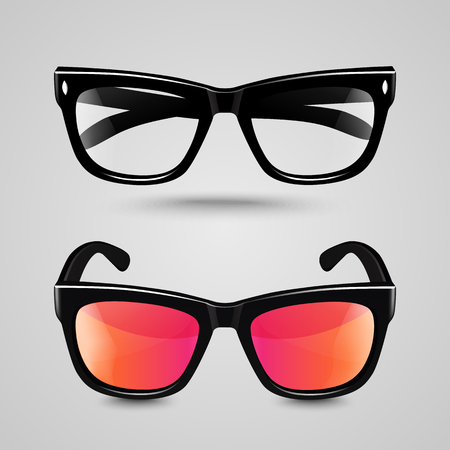 eyewear fashion: Eye glasses set. Sunglasses and reading eyeglasses with black color frame and  transparent lens in different shade. Illustration