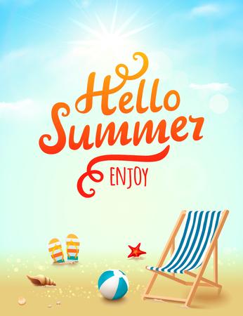 Hallo Zomer poster. Hallo zomer opschrift op strand achtergrond met ontwerp elementen. Strand achtergrond Vector Illustratie