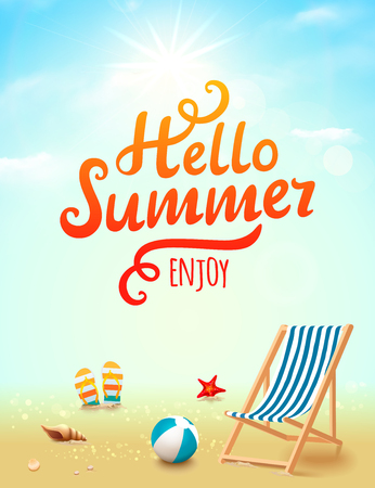 Hello Summer poster. Hello Summer inscription on beach background with design elements. Beach background Illustration