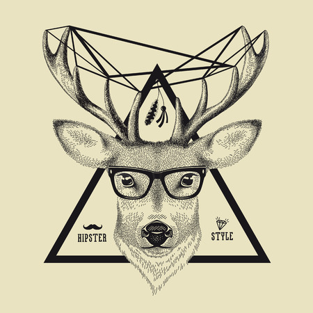trendy male: Hand drawn of a deer head in hipster style. Vector illustration of a hipster deer wearing spectacles