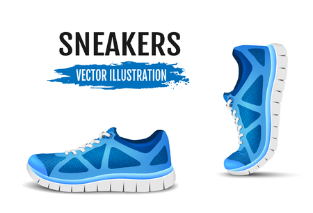shoes vector: Background of two running shoes. Blue sport shoes for running. Blue curved sport shoes for running. Vector illustration