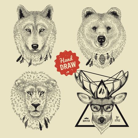 animal heads: Vector sketch of wild animal heads bear, wolf, lion, deer in hipster style